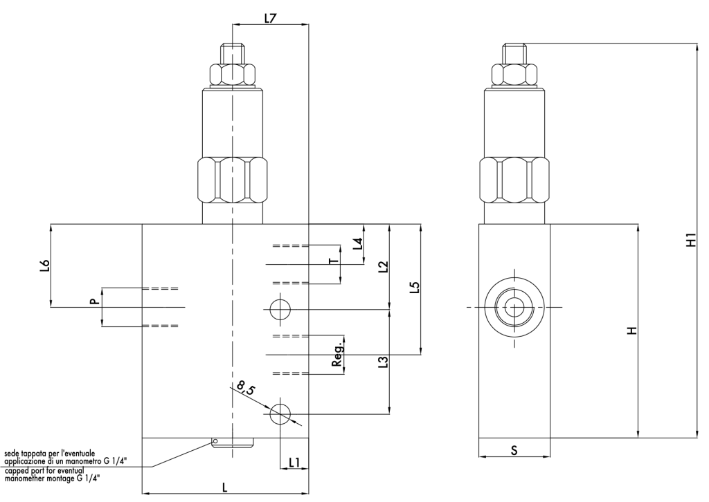 Схематическое изображение редукционного клапана VRP