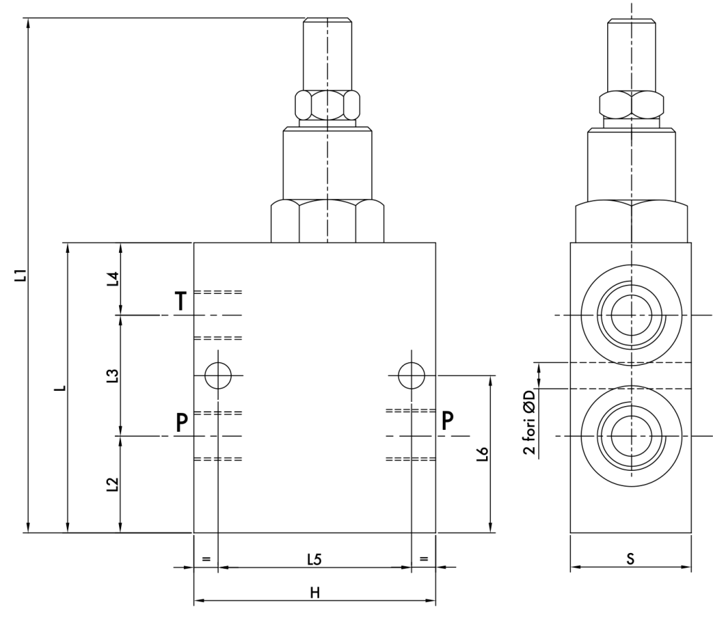 Схематическое изображение предохранительного клапана VMP/L/D5 3/8, 1/2, 3/4